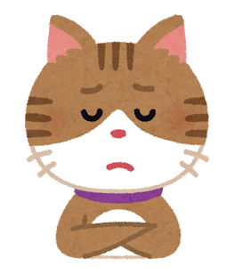 悩める猫のイラスト